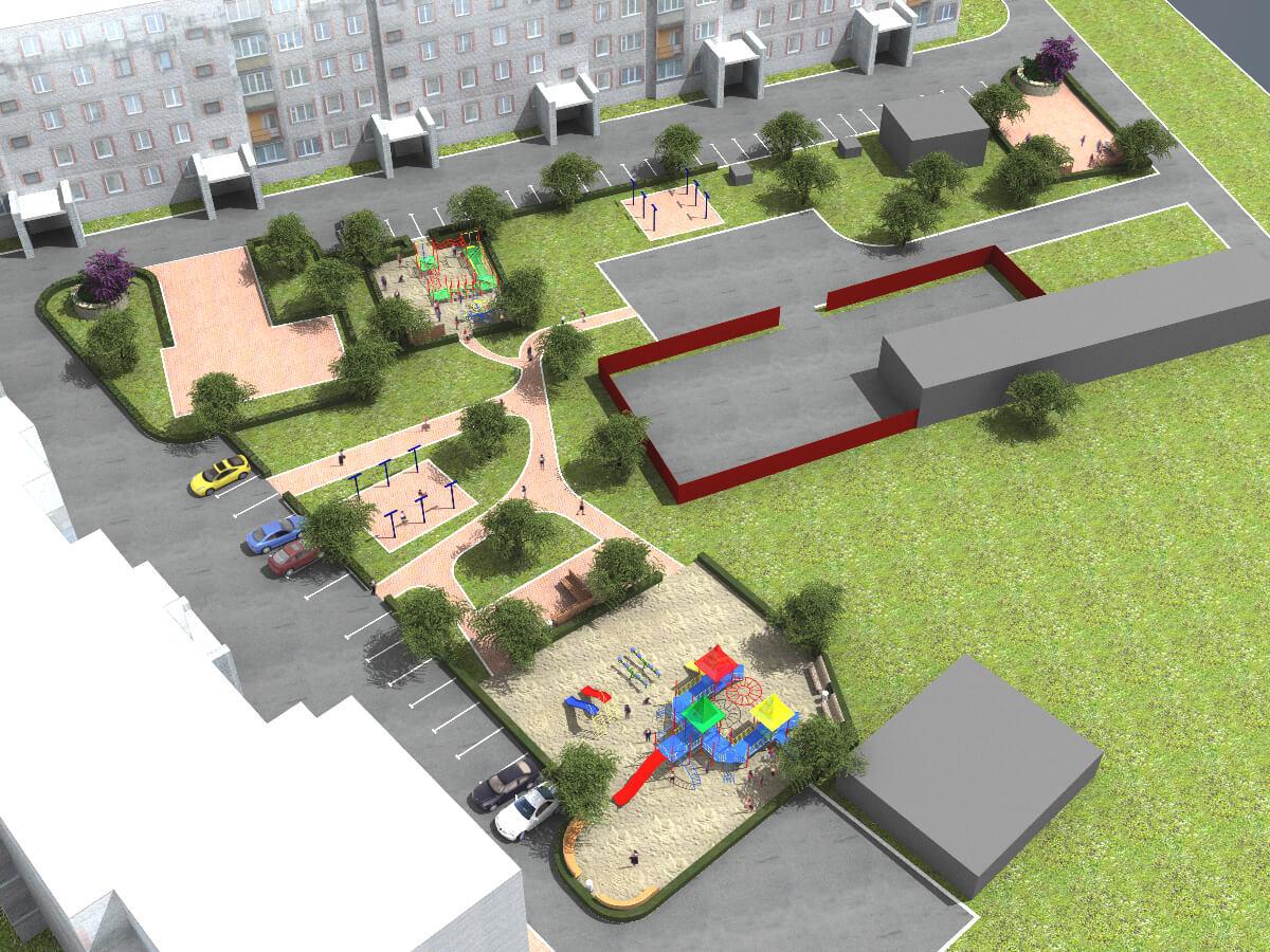 Дизайн придомовой территории мкд
